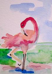 Art: Just Pink Flamingo Aceo by Artist Delilah Smith
