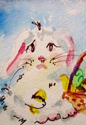 Art: Sad Easter Bunny by Artist Delilah Smith