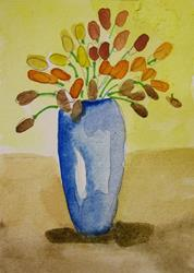 Art: Vase and Flowers Aceo by Artist Delilah Smith
