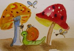Art: Snail and Mushrooms by Artist Delilah Smith