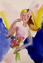 Art: Angle With Flowers by Artist Delilah Smith