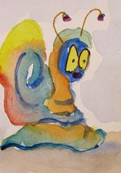 Art: Blue Snail Aceo by Artist Delilah Smith