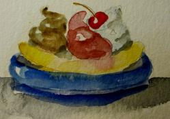Art: Banana Split Aceo-sold by Artist Delilah Smith