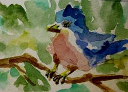 Art: Blue Bird Aceo by Artist Delilah Smith