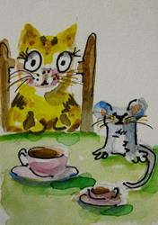 Art: Tea for Two Aceo by Artist Delilah Smith