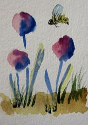 Art: Pink Flowers and Bee by Artist Delilah Smith