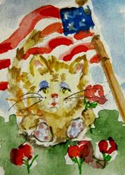 Art: 4th of July Fat Cat by Artist Delilah Smith