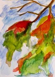 Art: Fall Leaves Aceo by Artist Delilah Smith