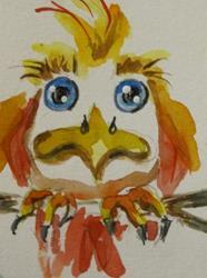 Art: Big Eyed Bird by Artist Delilah Smith