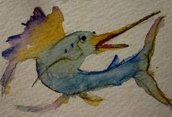 Art: Sailfish Aceo by Artist Delilah Smith