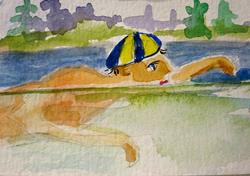 Art: Swimmer by Artist Delilah Smith