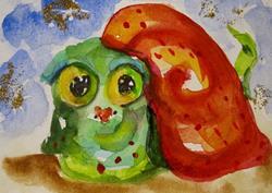 Art: Big Eyed Christmas Snail by Artist Delilah Smith