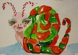 Art: Red and Green Candy Cane Snail by Artist Delilah Smith