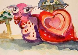 Art: Valentine Snail by Artist Delilah Smith