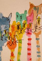 Art: Long Neck Cats-sold by Artist Delilah Smith