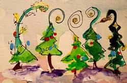 Art: Abstract Christmas Trees No. 2 by Artist Delilah Smith