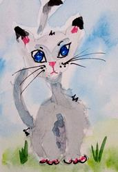 Art: Blue Eyed Cat by Artist Delilah Smith