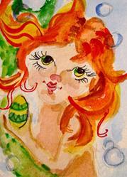 Art: Easter Egg Mermaid by Artist Delilah Smith