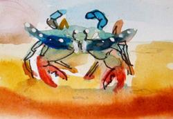 Art: Small Blue Crab Aceo by Artist Delilah Smith