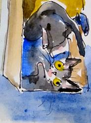 Art: Cat in a Box by Artist Delilah Smith