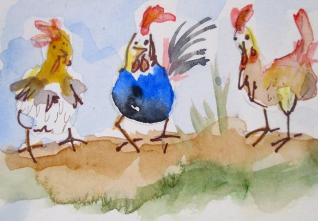 Art: Three Chickens by Artist Delilah Smith