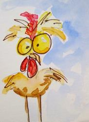 Art: Big Eyed Rooster by Artist Delilah Smith