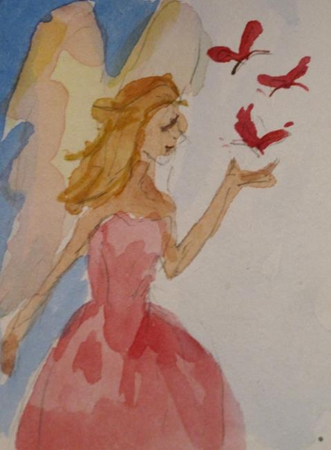 Art: Pink Butterfly Fairy by Artist Delilah Smith
