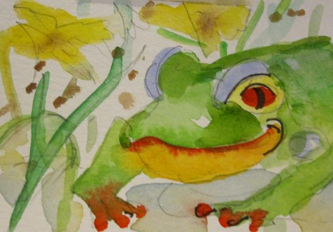 Art: Green Frog by Artist Delilah Smith