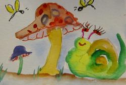 Art: Snail and Mushroom by Artist Delilah Smith