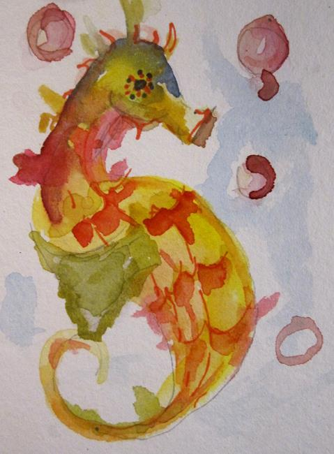 Art: Seahorse and Pink Bubbles by Artist Delilah Smith