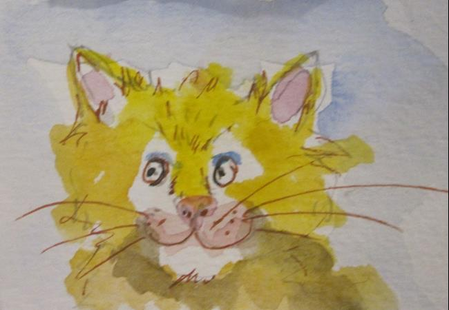 Art: Yellow Cat by Artist Delilah Smith