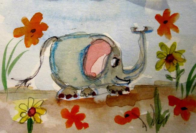 Art: Small Elephant Aceo by Artist Delilah Smith