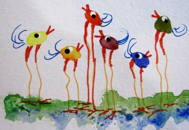 Art: Colorful Long Legged Birds by Artist Delilah Smith