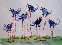 Art: Long Legged Blue Birds by Artist Delilah Smith