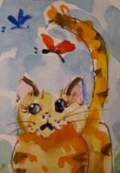 Art: Cat and Butterflies by Artist Delilah Smith