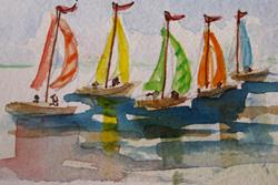 Art: Five Sailboats by Artist Delilah Smith