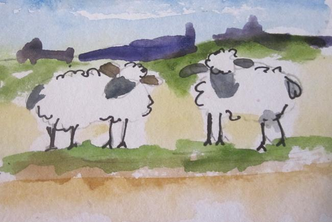 Art: Two Sheep by Artist Delilah Smith