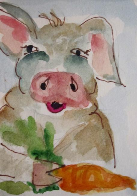 Art: Pig and Carrot by Artist Delilah Smith