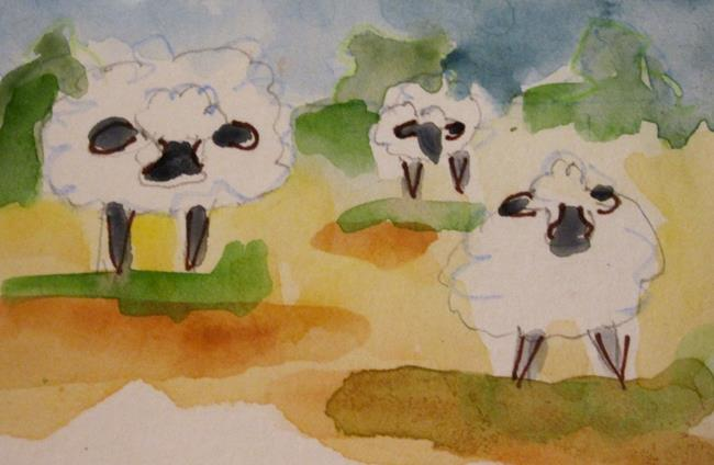 Art: Three Sheep aceo by Artist Delilah Smith