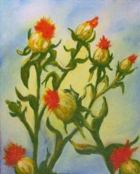 Art: Safflowers by Artist Monique Morin Matson