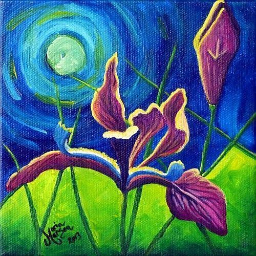 Art: Moonlight & Irises by Artist Monique Morin Matson