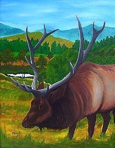 Art: Elk  (SOLD) by Artist Monique Morin Matson