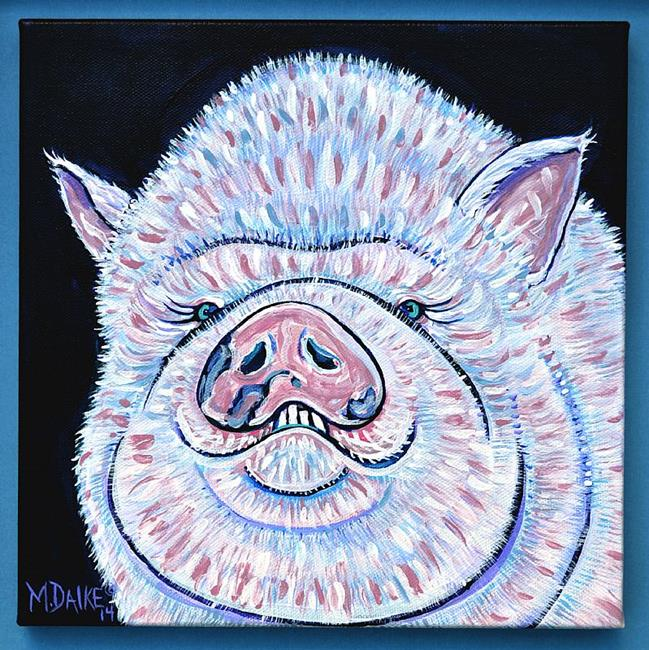 Art: Impression of a Smiling Pig by Artist Melinda Dalke