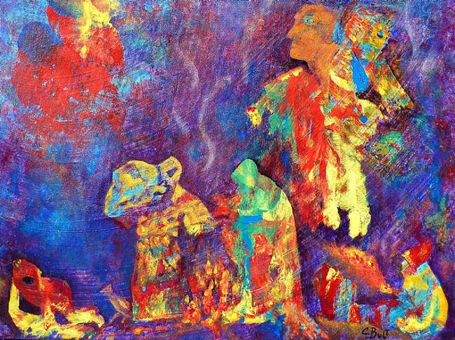 Art: Native American Fire Spirits by Artist Claire Bull