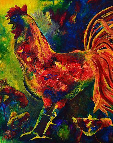 Art: Happy Rooster Family by Artist Claire Bull