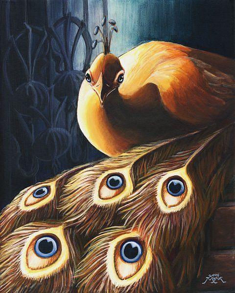 Art: The Golden Peacock by Artist Madeline  Carol Matz