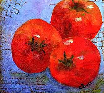 Art: Red Tomato Three Ways by Artist Claire Bull