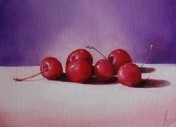 Art: Cherries by Artist Karen  Martin