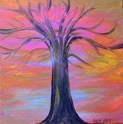 Art: Tree of life sunset by Artist Margie Byrne