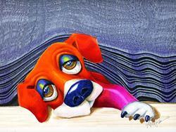 Art: Puppy Blinds Spot by Artist Alma Lee
